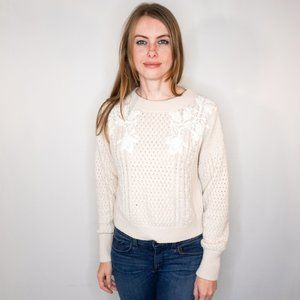 REBECCA TAYLOR Lace Applique Cable Knit Pullover